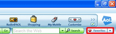 On the AOL toolbar, click Favorites