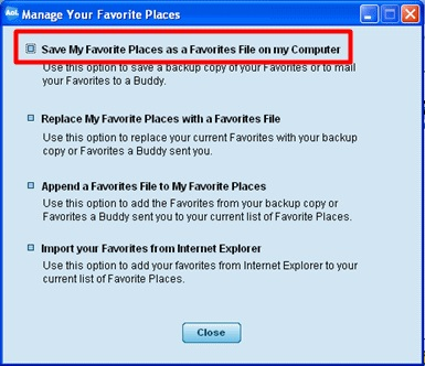 Click Save My Favorite Places as a Favorites File on my Computer.