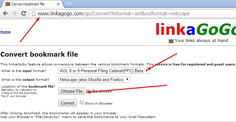 Go to http://www.linkagogo.com/go/Convert?informat=aol&outformat=netscape Make sure that the input is AOL PFC and the output is Netscape/Mozilla/Firefox.