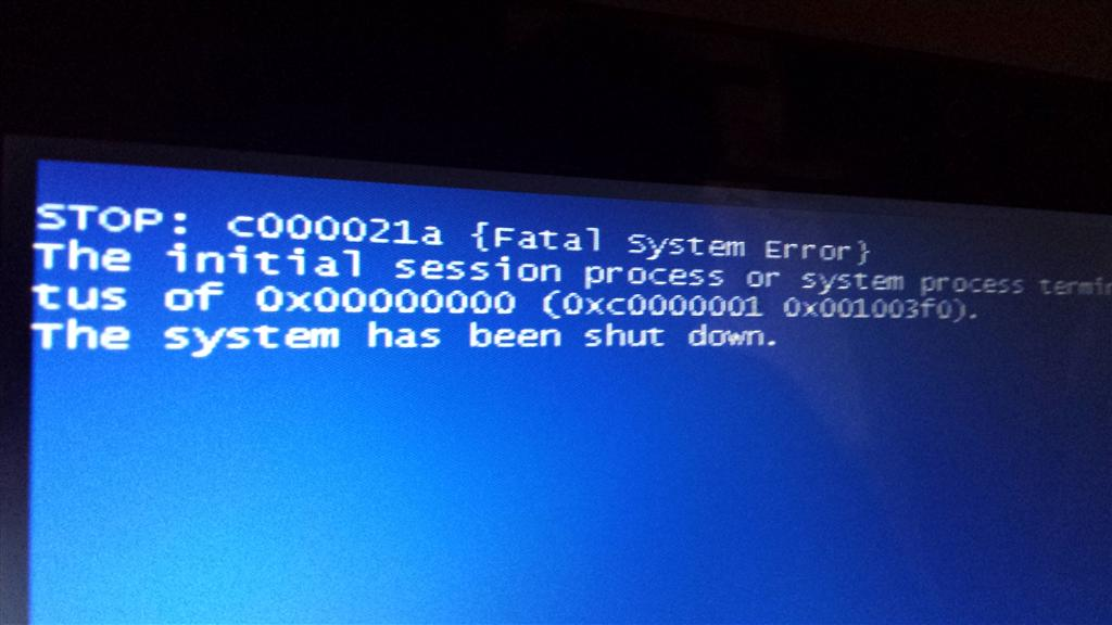 error code 0xc000021a