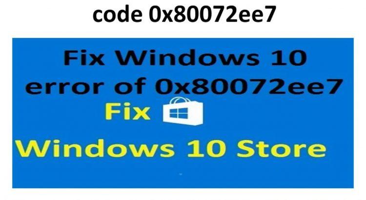 error code 0x80072ee7