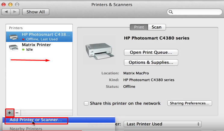 Setting default printer Mac OS X