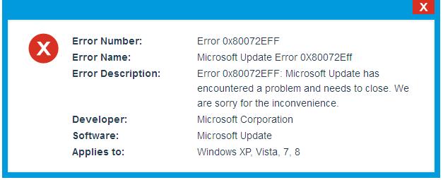 Fix Error Code 0x80072EFF in windows 10