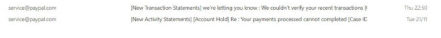 Fake PayPal email asks to verify transactions