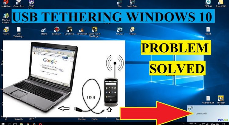 USB tethering on windows 10 quickly