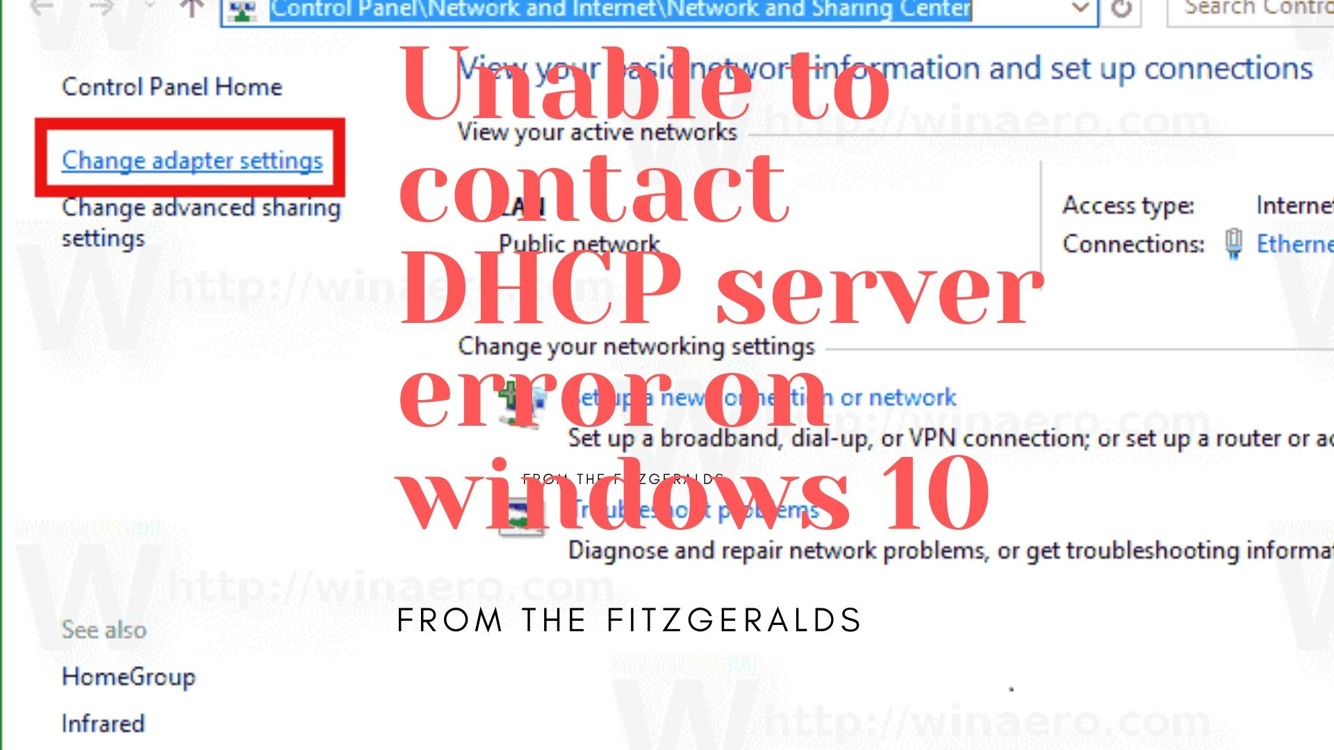 Unable to contact DHCP server error on windows 10
