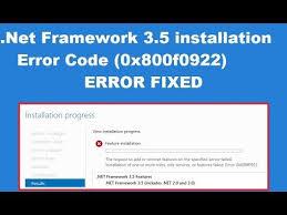 .NET Framework 3.5 Installation Error: 0x800F0922